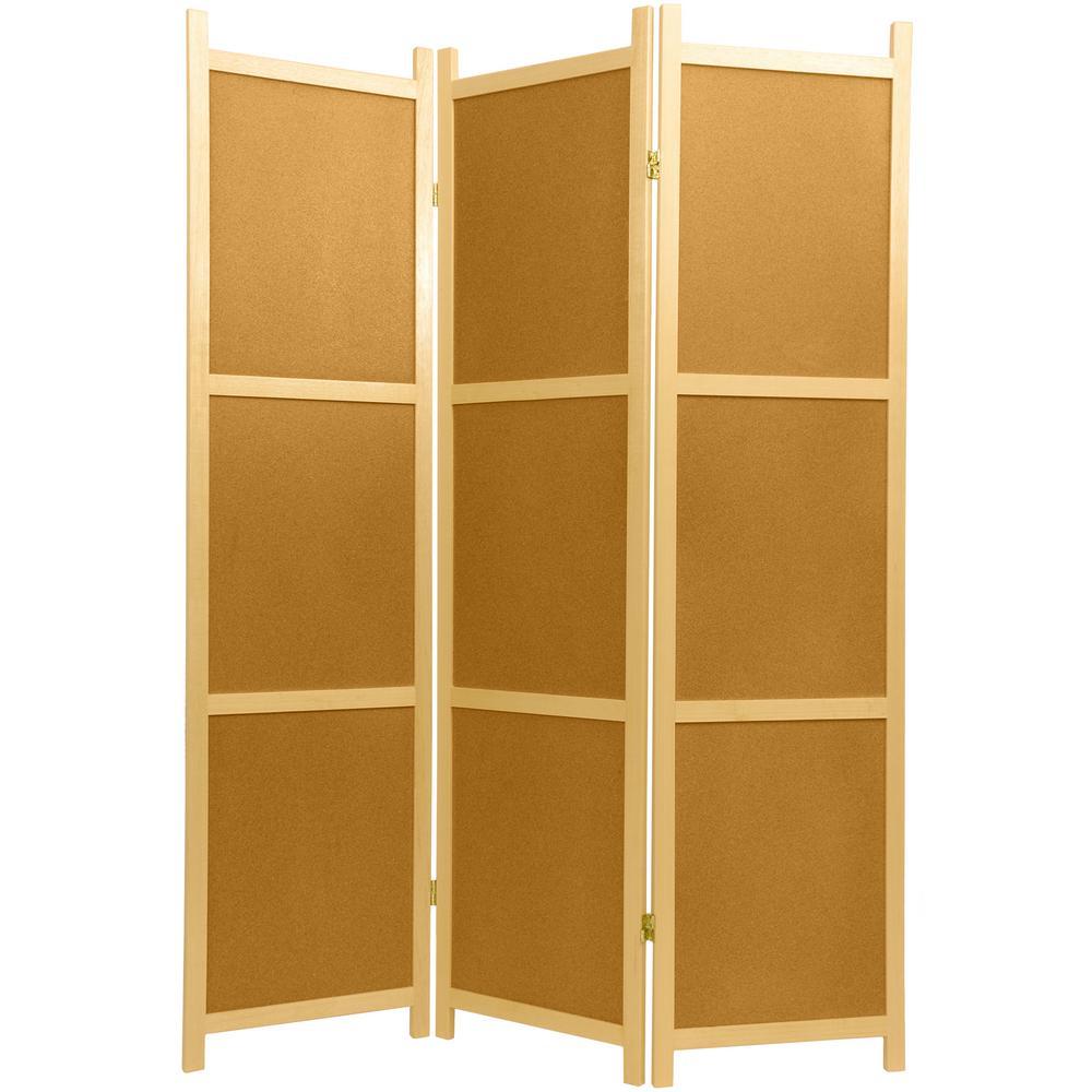 6 ft Natural 3 Panel Cork Board Room Divider SS CORK 3Panel The