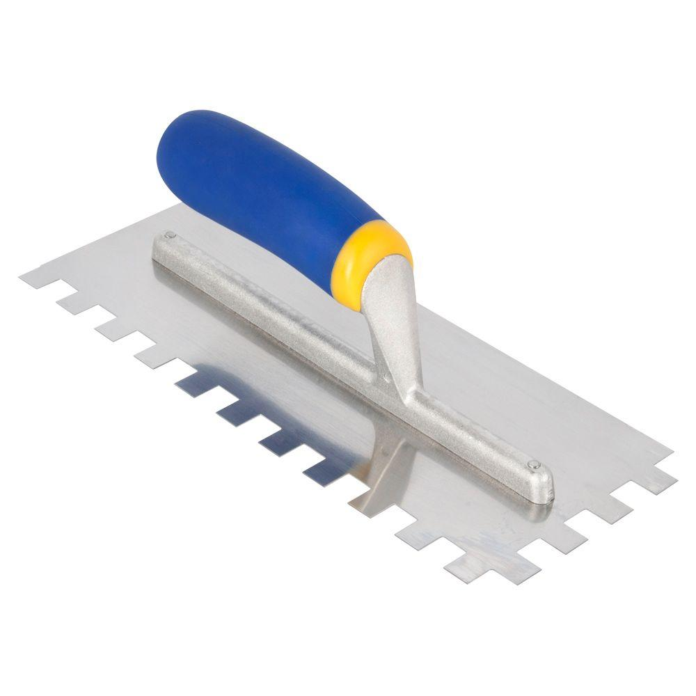 QEP 11 in. x 1/2 in. Square-Notch Stainless Steel Flooring Trowel with Comfort Grip