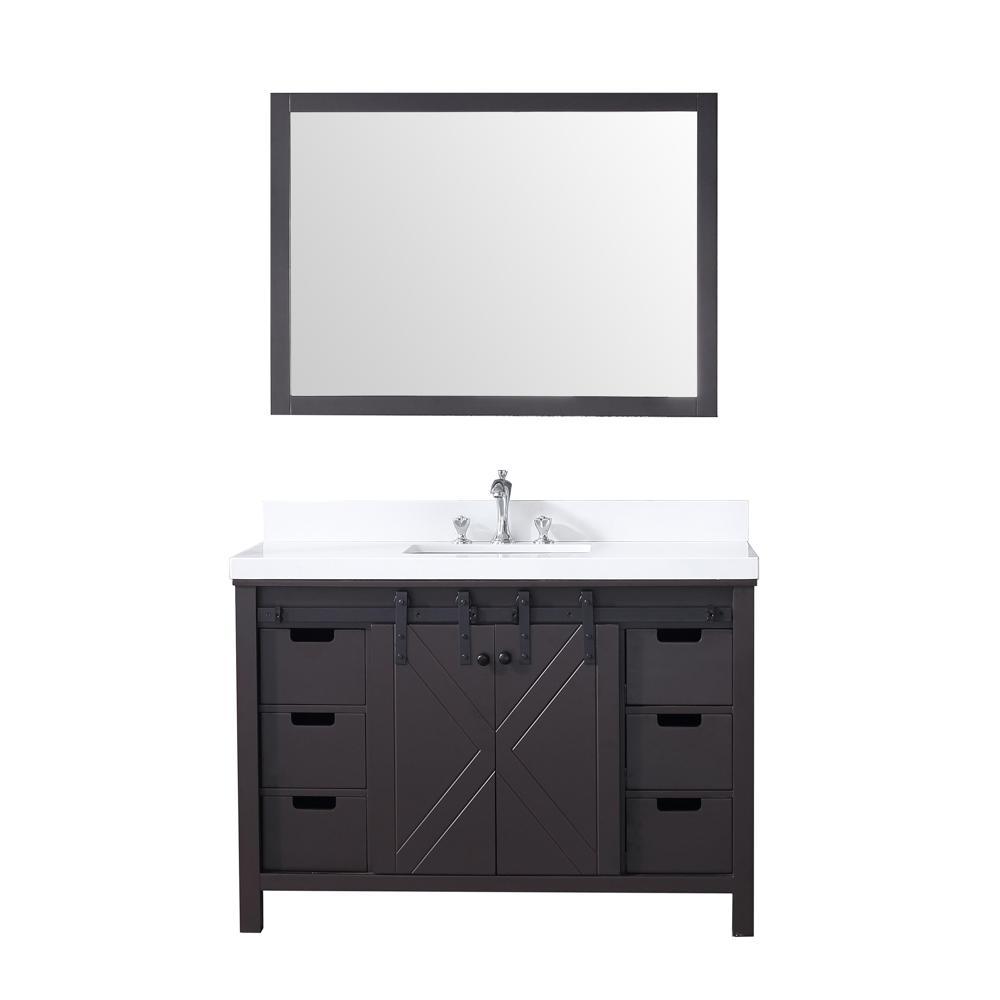 Lexora Marsyas 48 in. Single Bath Vanity in Brown w/ White Quartz Top w/ White Square Sink and 44 in. Mirror