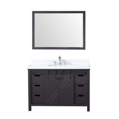 Marsyas 48 in. Single Bath Vanity in Brown w/ White Quartz Top w/ White Square Sink and 44 in. Mirror