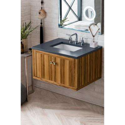 Silverlake 30 in. Single Bath Vanity in Natural Apple Wood with Quartz Vanity Top in Charcoal Soapstone with White Basin