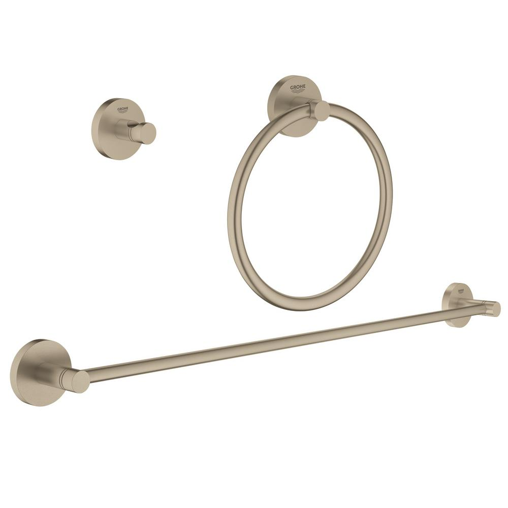 Essentials Accessories 3-Piece Bath Hardware Set in Brushed Nickel Infinity