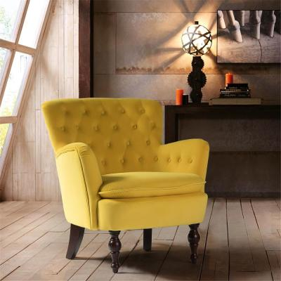 Mustard Yellow Antique Accent Single Sofa Comfy Upholstered Arm Chair with Cushion