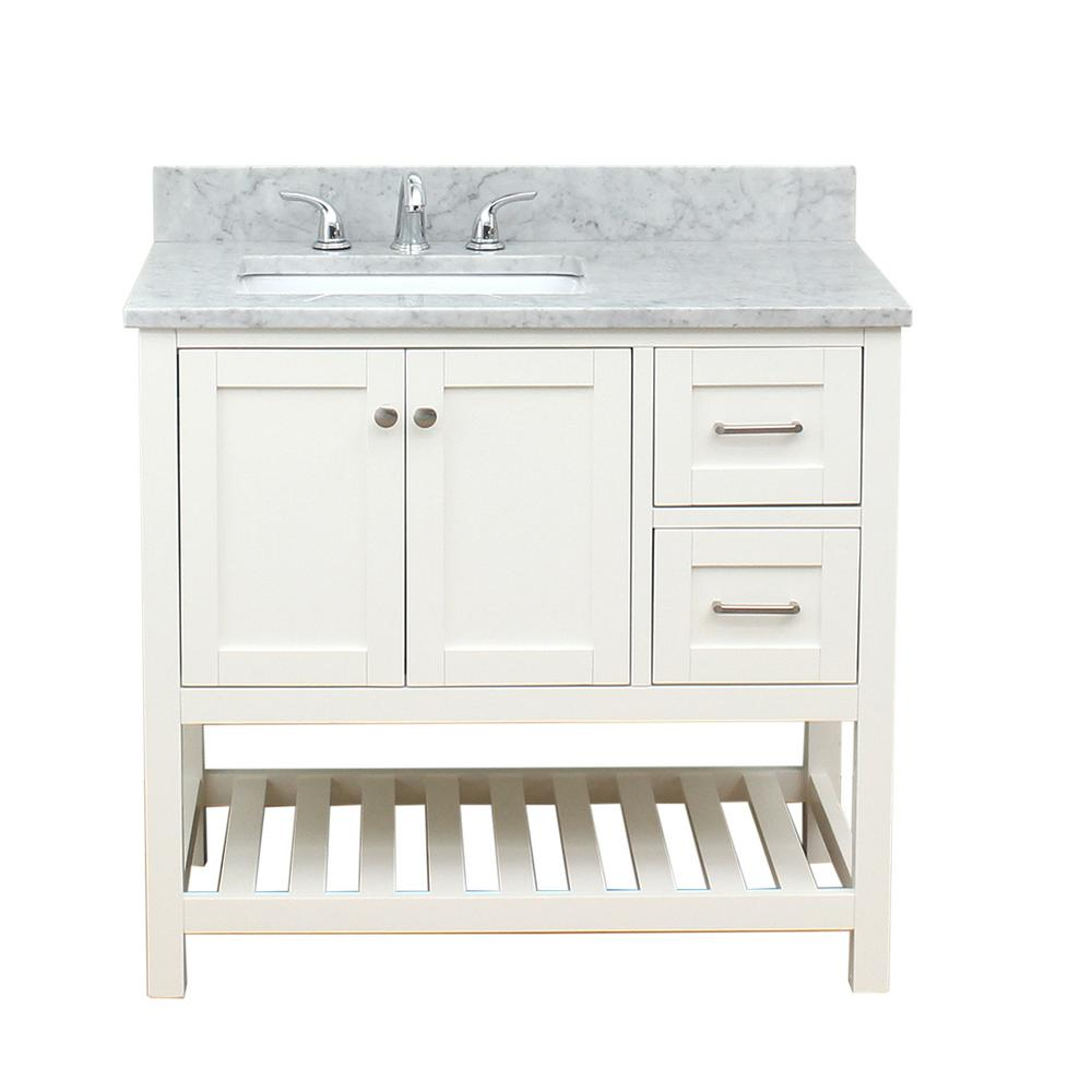 Westchester 37 in. W x 34 in. H Bath Vanity in White with Marble Vanity Top in White with White Basin