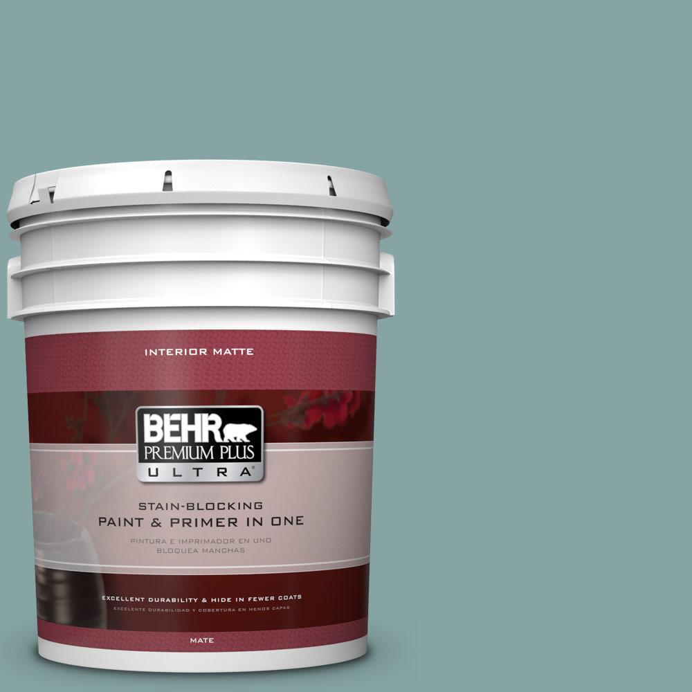 BEHR Premium Plus Ultra 5 gal. #PPU13-8 Venus Teal Flat/Matte Interior Paint