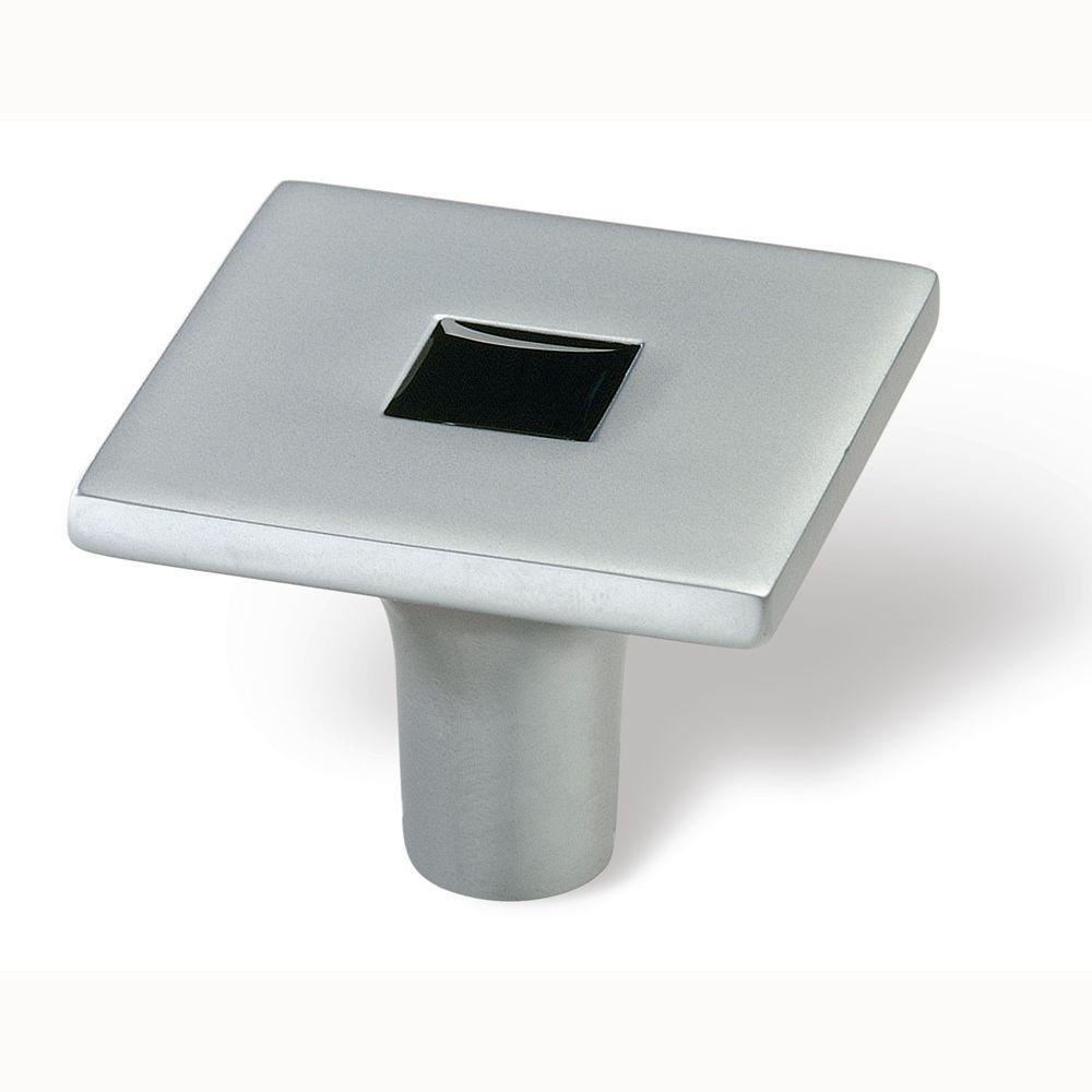 Siro Designs Rio 1-3/8 in. Matte Chrome/Black Square Cabinet Knob