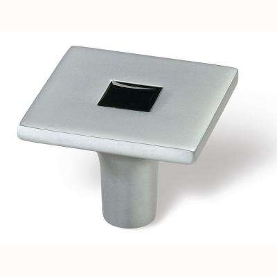 Rio 1-3/8 in. Matte Chrome/Black Square Cabinet Knob