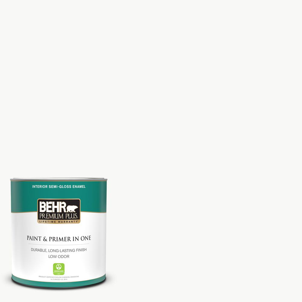 Behr Premium Plus 1 Qt Ultra Pure White Semi Gloss Enamel Low Odor Interior Paint And Primer In One 305004 The Home Depot
