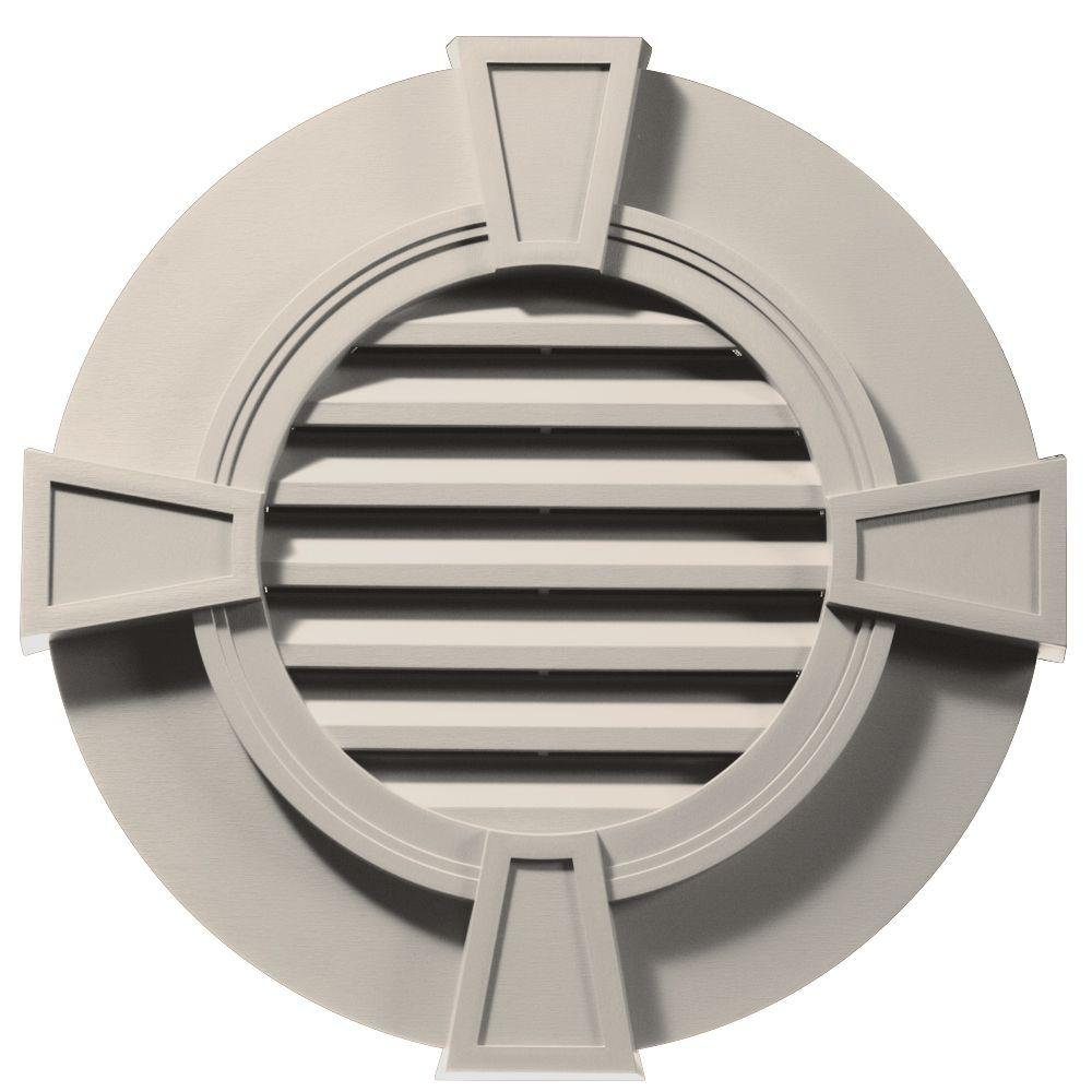 Builders Edge 30 in. Round Gable Vent with Keystones in Almond