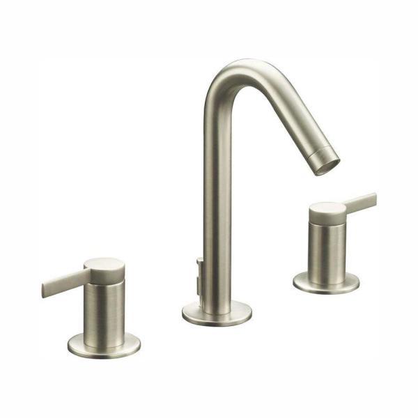Stillness 8 in. Widespread 2-Handle Low-Arc Water-Saving Bathroom Faucet in Vibrant Brushed Nickel