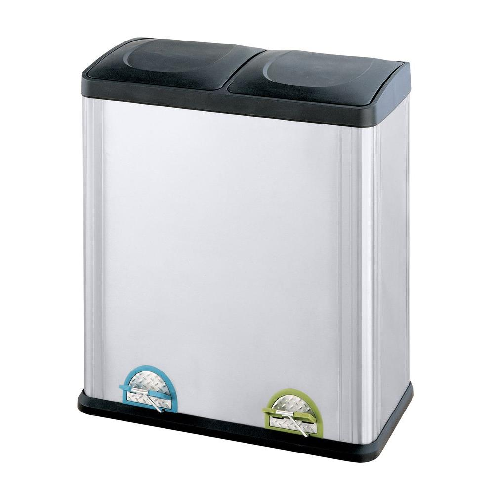 Neu Home 1585 Gal Stainless Steel 2 Compartment Touchless Trash