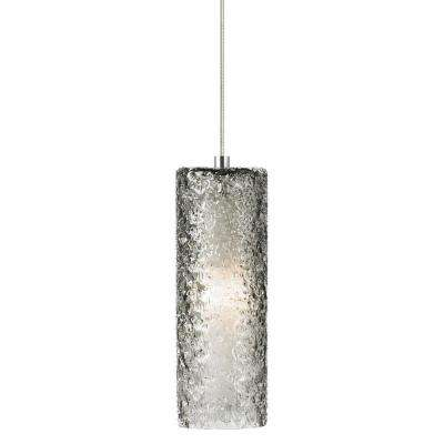 Mini-Rock Candy Cylinder 3.6 in. W 1-Light Satin Nickel Mini Pendant with Smoke Shade