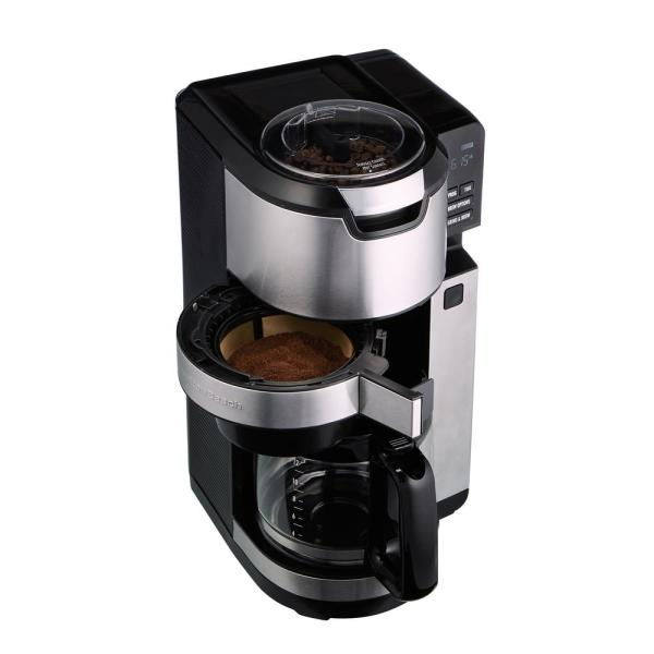 12-Cup Black Programmable Grind and Brew Coffee Maker