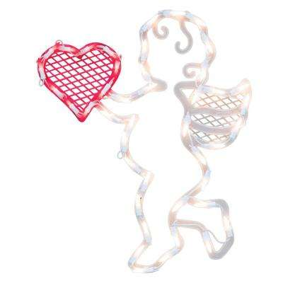 17 in. Lighted Valentine's Day Cupid Heart Window Silhouette Decoration