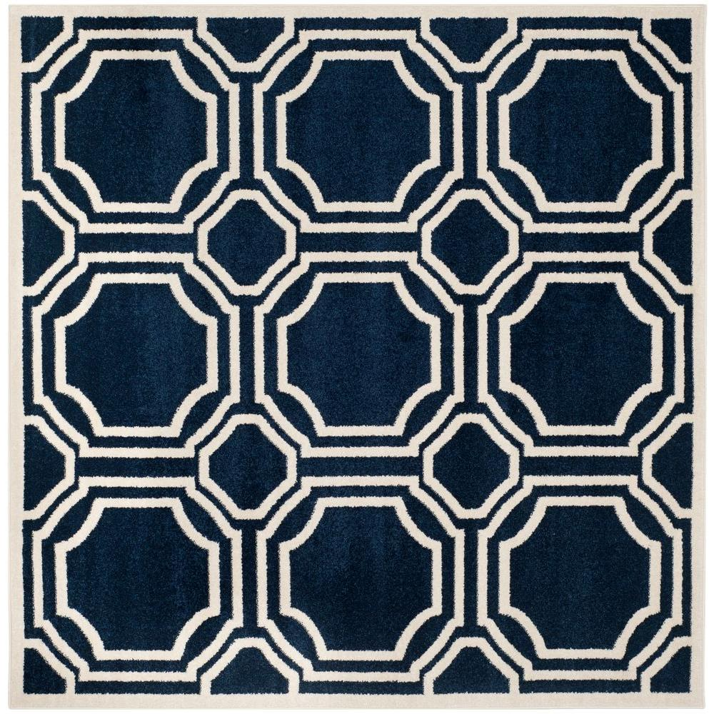 Safavieh Amherst Navy/Ivory 7 ft. x 7 ft. Indoor/Outdoor Square Area ...