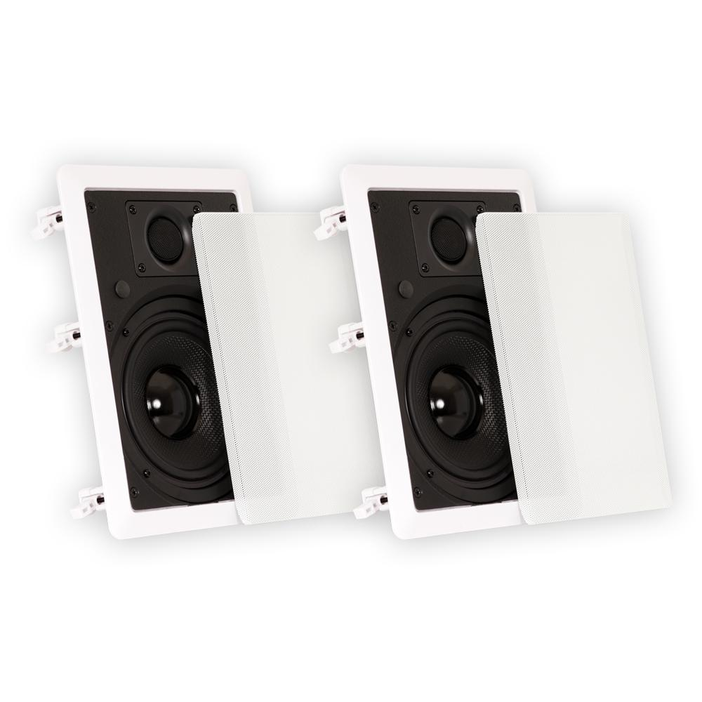 In Wall 6.5 in. Speakers Surround Sound Home Theater Pair, White Theater Solutions Reference Series 6.5 in. In-Wall Speakers are designed for consumers who demand powerful bass in a compact package. Their easy in-wall installation and ultra-wide sound dispersion design make them ideal for discreet, single or multi-room installations. All of Theater Solutions models feature the latest swing-out dog leg mounting system for easy installation, paint-able white aluminum. The driver was designed for extended throw providing a full range of tones coupled with time-tested toughness. The pivoting silk titanium dome tweeter directs sound at listeners and its back chamber smoothest and extends its performance. These states of the art components including 2nd order 12dB per octave crossovers and spring loaded raw wire connectors all add up to superior quality and design at a value that is second to none.