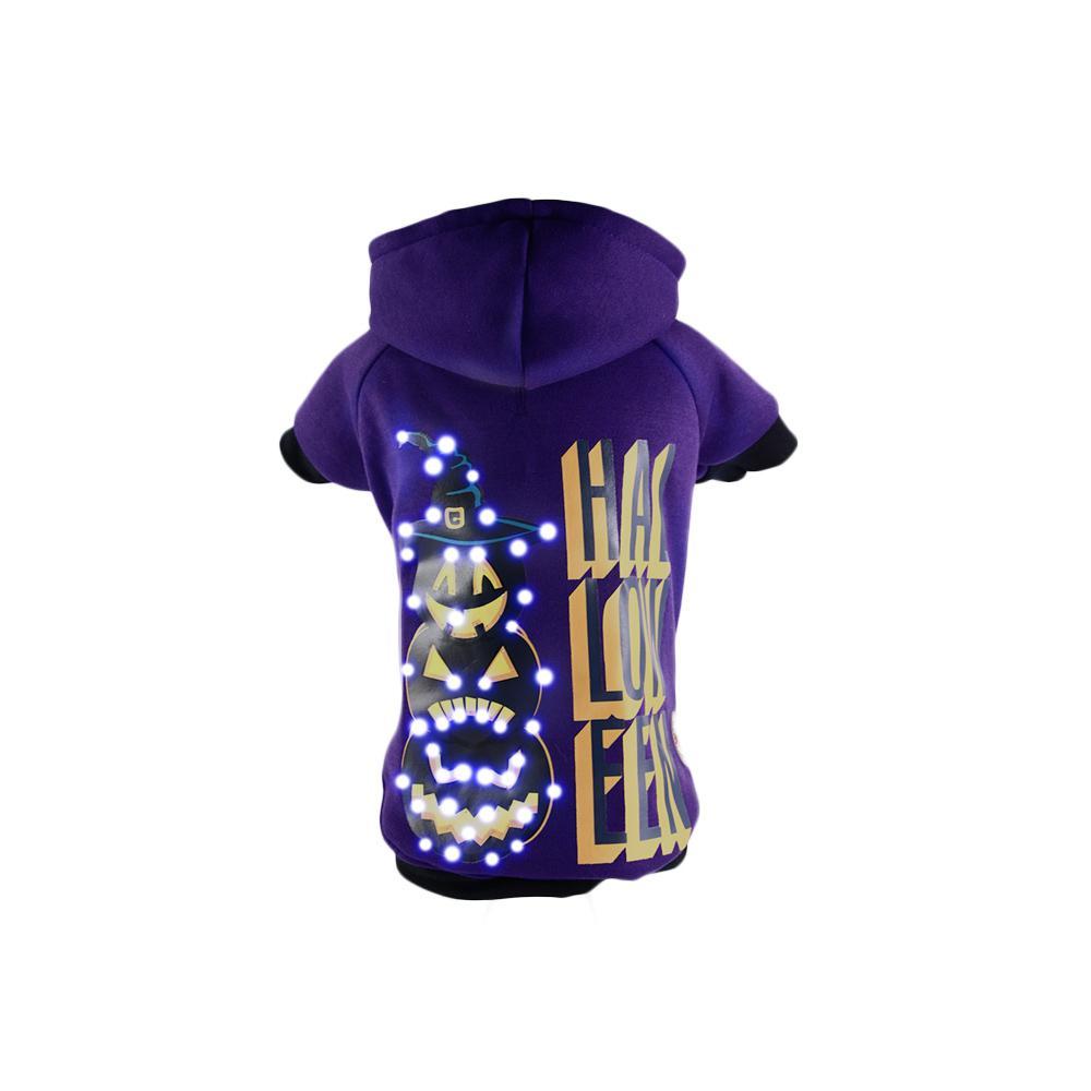 Large Purple LED Lighting Halloween Happy Snowman Hooded Sweater Pet Hoodie