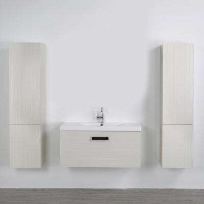 39.4 in. W x 18.2 in. H Bath Vanity in Gray with Plastic Vanity Top in White with White Basin