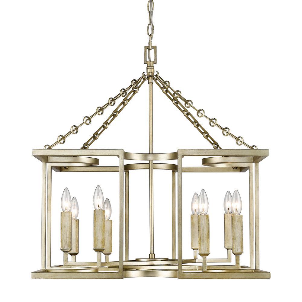 Bellare 8-Light White Gold Chandelier