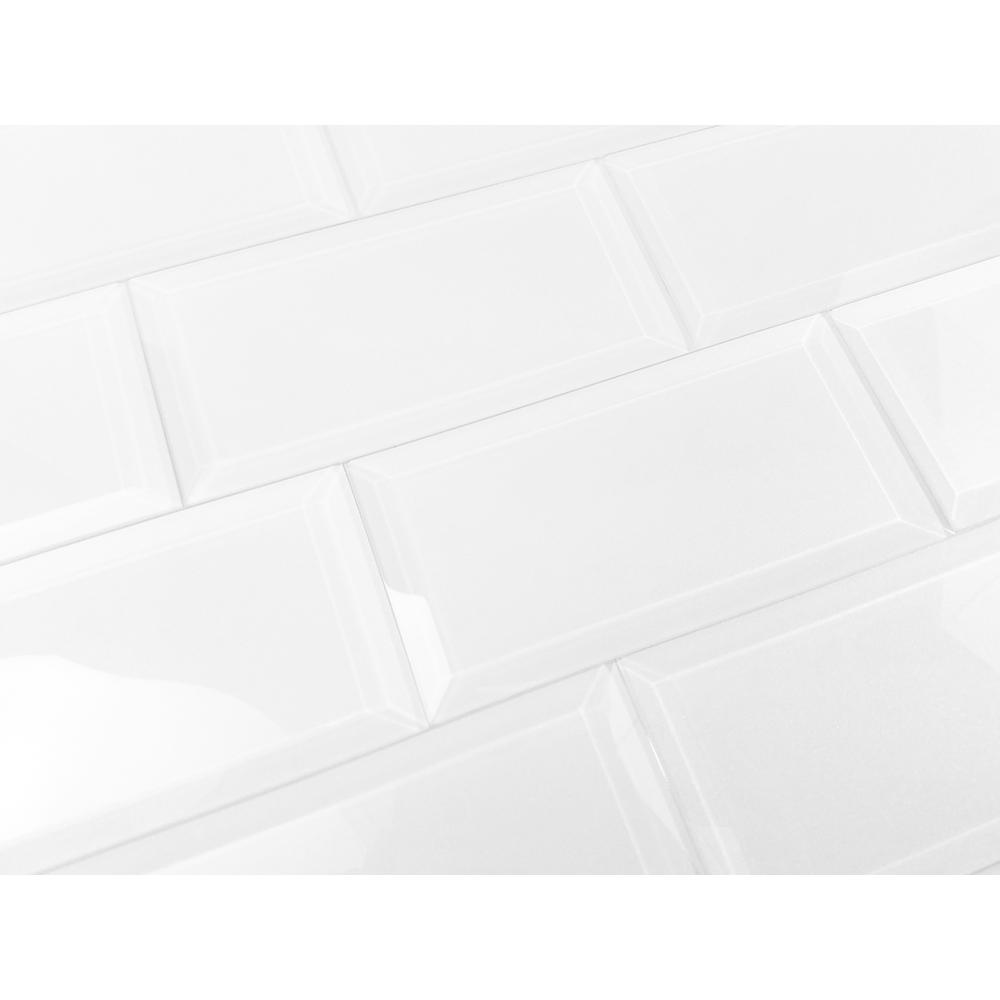 Frosted Elegance Isabelle White 3 in. x 6 in. Glass Peel