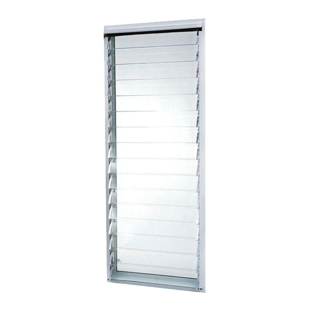23 in. x 58.375 in. White Jalousie Utility Louver Aluminum Screen