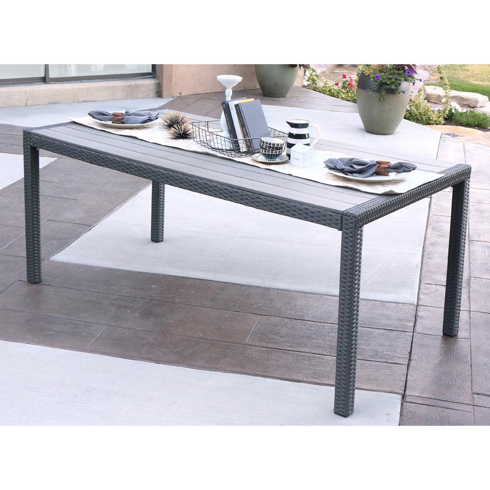Walker Edison Furniture Company Grey Wicker Outdoor Dining