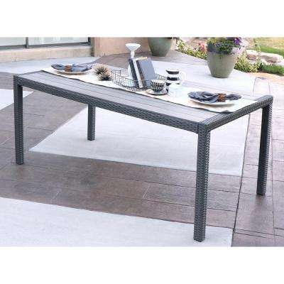 Grey Wicker Outdoor Dining Table