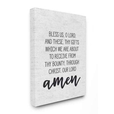 "30 in. x 40 in. ""Bless Us O Lord Before Meal Prayer Subtle Birch"" by Artist Lettered and Lined Canvas Wall Art"