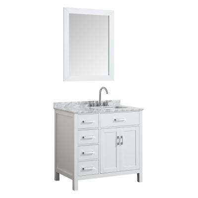 Hampton 37 in. Bath Vanity in White with Marble Vanity Top in Carrara White with White Basin and Mirror