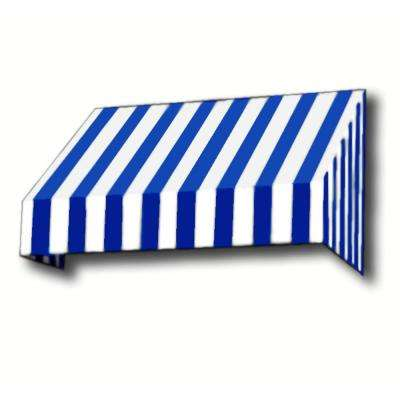 14 ft. New Yorker Window Awning (44 in. H x 24 in. D) in Bright Blue/White Stripe