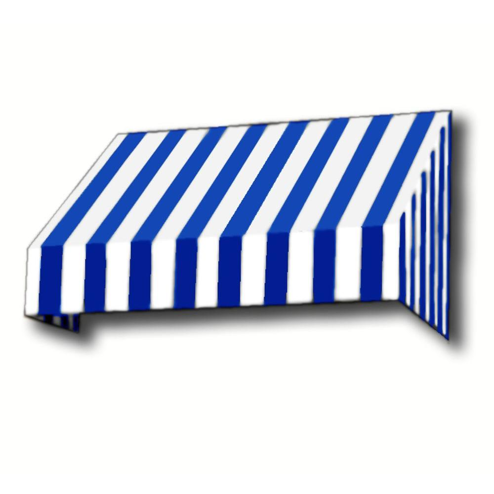 AWNTECH 5 ft. New Yorker Window/Entry Awning (56 in. H x 36 in. D) in Bright Blue / White Stripe