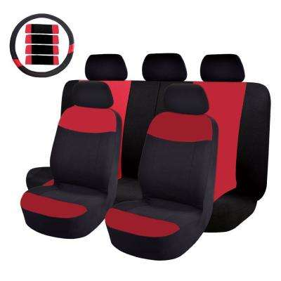 47 in. x 23 in. x 1 in 14PC Mesh Cloth Car Seat Cover For SUV,Truck,or Van, Red/Black