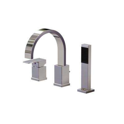 Ultra 1-Handle Deck-Mount Roman Tub Faucet with Hand Shower in Polished Chrome