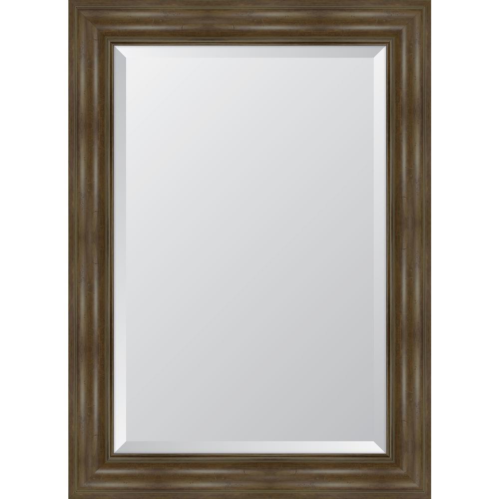 Medium Rectangle Walnut Beveled Glass Classic Mirror (32 in. H x 44 in. W)