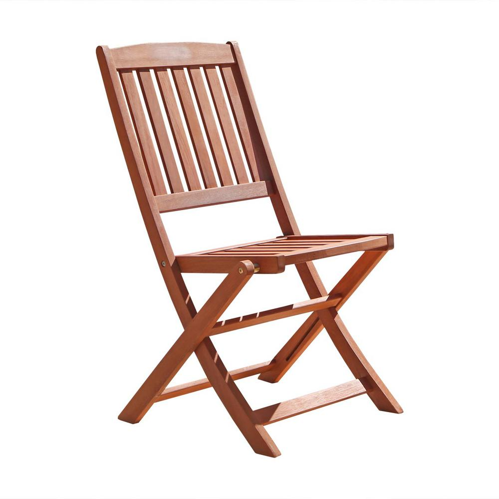 Vifah Malibu Folding Wood Outdoor Dining Chair 2 Pack V04 The