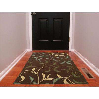 Ottohome Collection Contemporary Leaves Design Chocolate 3 ft. x 5 ft. Area Rug