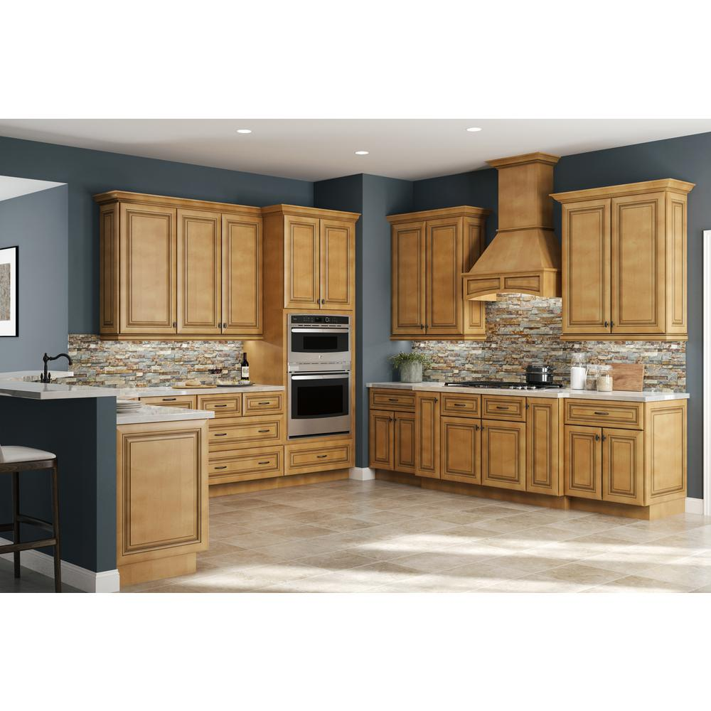 Home Decorators Collection Lewiston Assembled 18x42x12 in. Single Door  Hinge Left Wall Kitchen Cabinet in Toffee Glaze