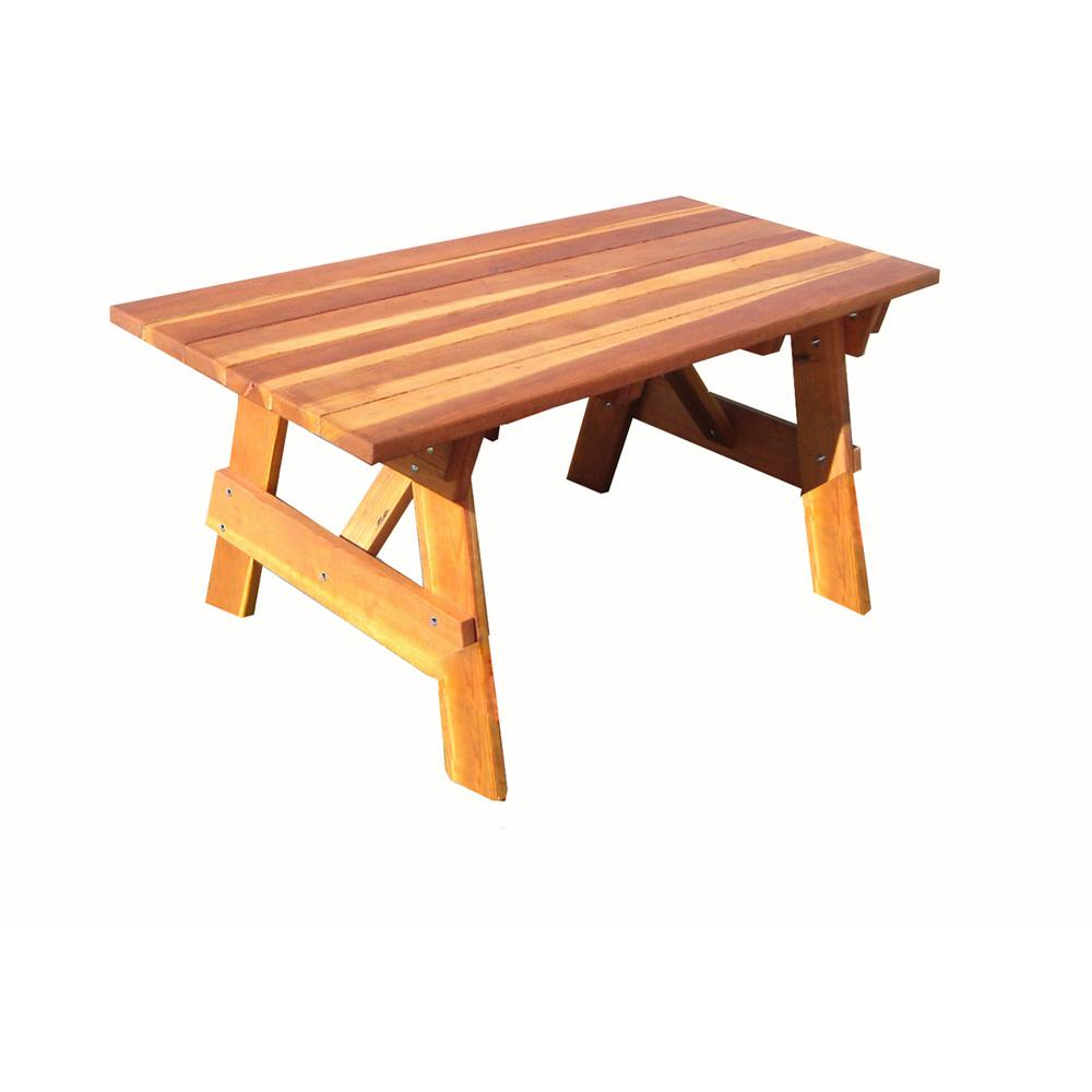 Outdoor 1905 Super Deck Finished 7 Ft Redwood Picnic Table