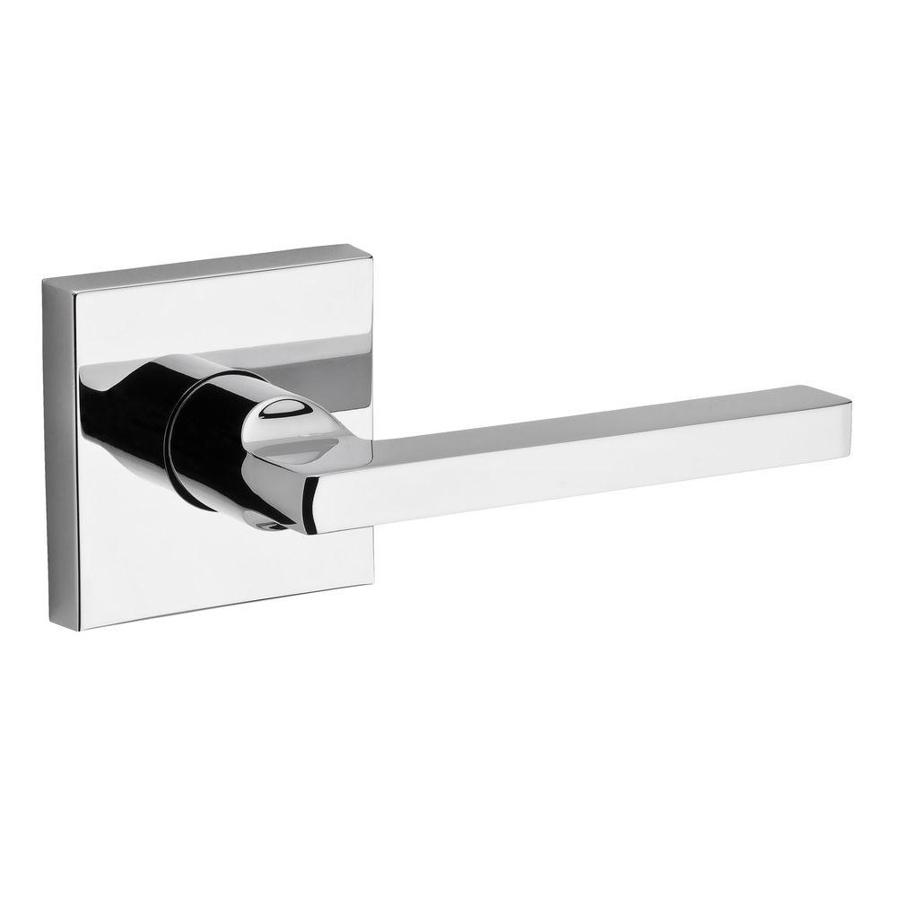 Reserve Square Polished Chrome Right-Hand Privacy Lever with Contemporary Square