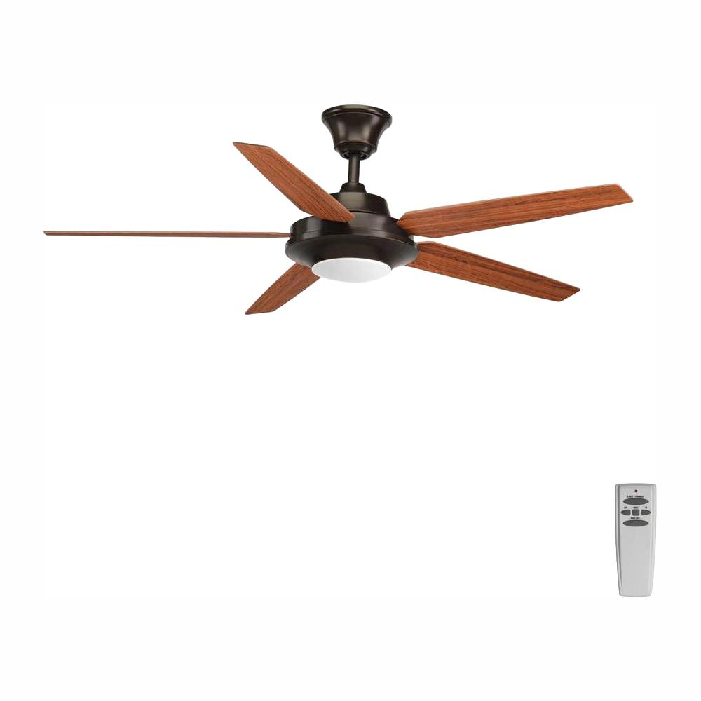 Progress Lighting Signature Plus II Collection 54 in. LED Indoor Antique Bronze Rustic Ceiling Fan with Light Kit and Remote