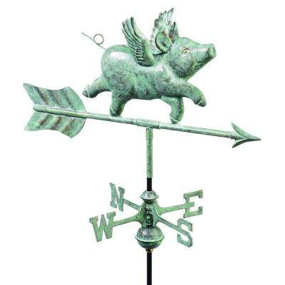 Blue Verde Copper Flying Pig Garden Weathervane with Roof Mount