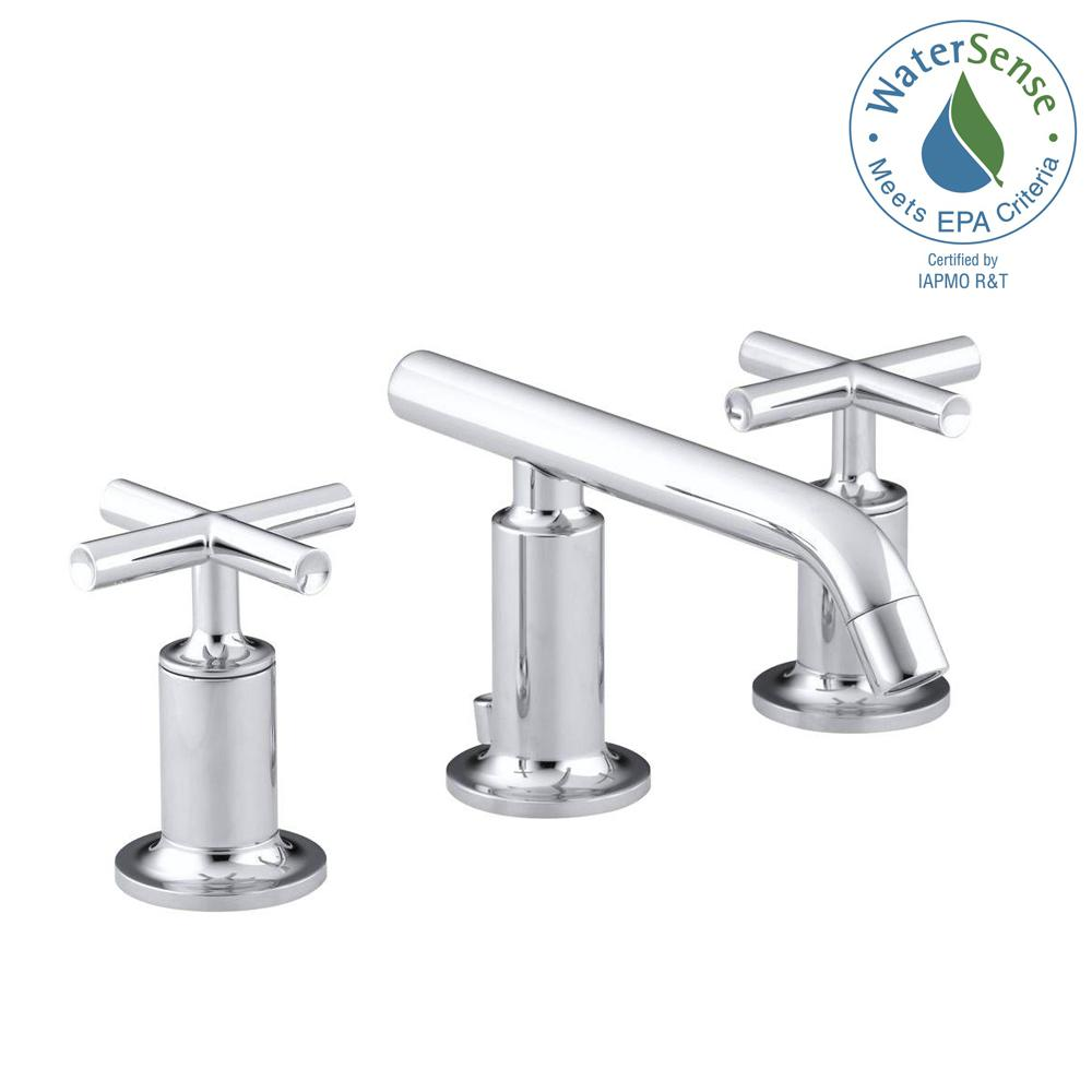 Kohler Purist 8 In Widespread 2 Handle Low Arc Bathroom Faucet Polished Chrome With Cross Handles