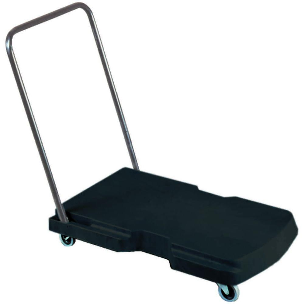 Utility Duty Triple Trolley with Straight Handle and Casters, Black