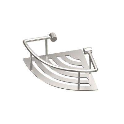 8 in. W Elegant Corner Shelf in Brushed Nickel