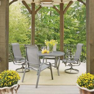 Home Styles Daytona Charcoal Gray 5-Piece Aluminum Round Outdoor Dining Set by Home Styles