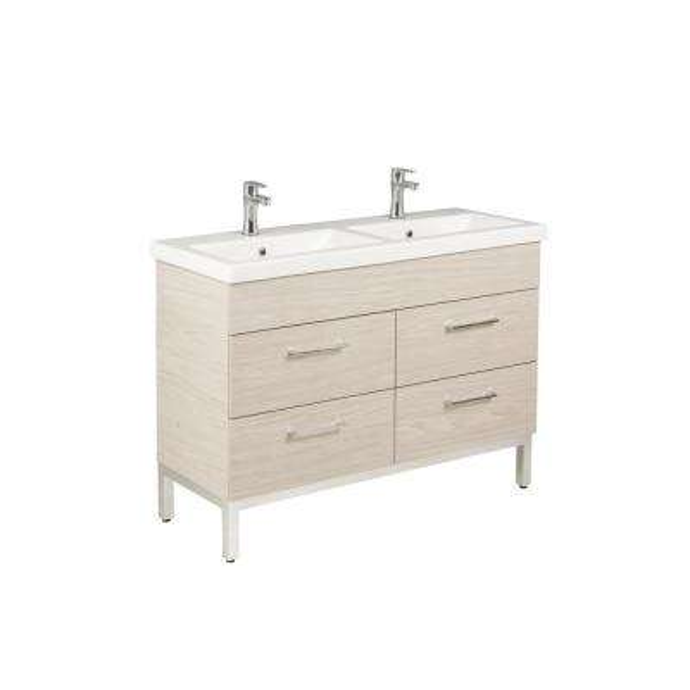 Infinity 48 in. W x 18 in. D Double Bath Vanity in Silverado with Ceramic Vanity Top in White