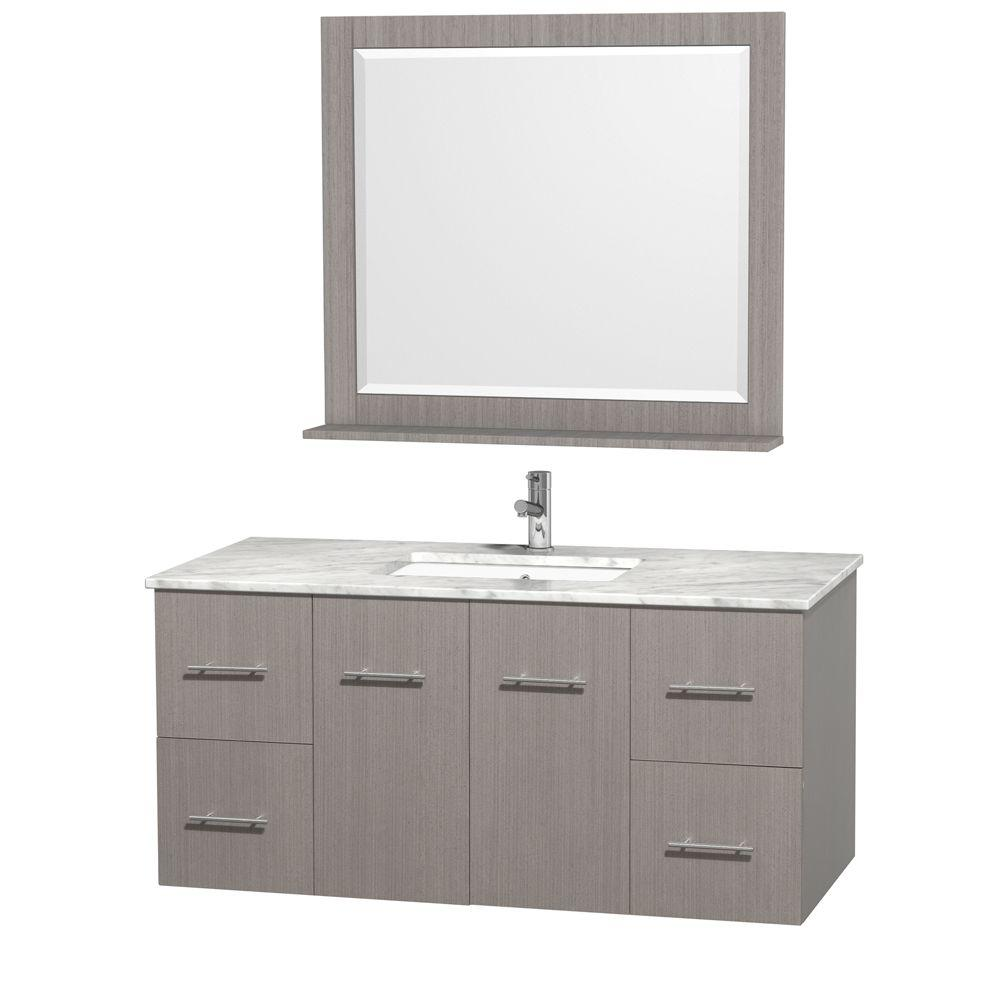 Centra 48 in. Vanity in Grey Oak with Marble Vanity Top