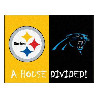 NFL House Divided - Steelers / Panthers 33.75 in. x 42.5 in. House Divided Mat Area Rug