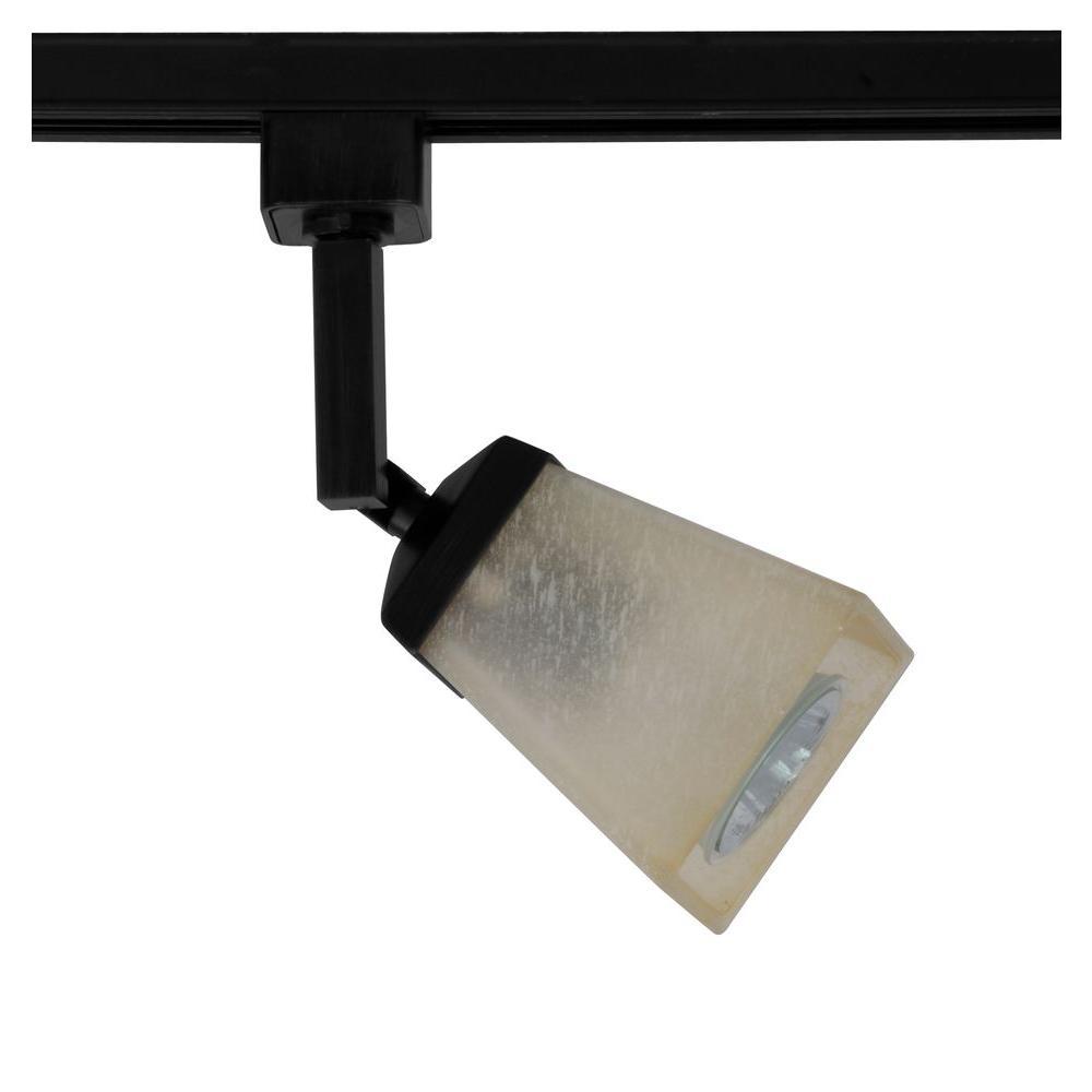 1-Light Matte Black Linen Glass Linear Track Lighting Head