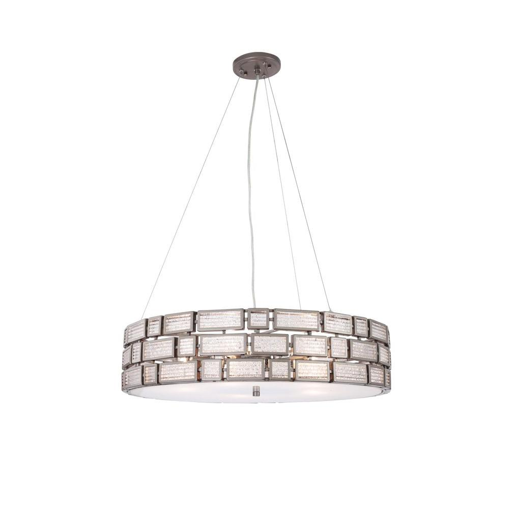 Varaluz Harlowe 3-Light New Bronze Pendant with Textured Ice Glass